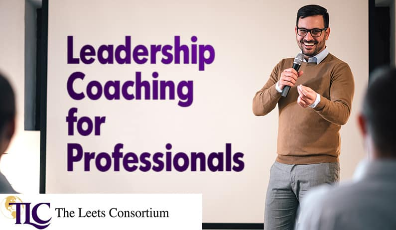 leadership coach in front of professionals